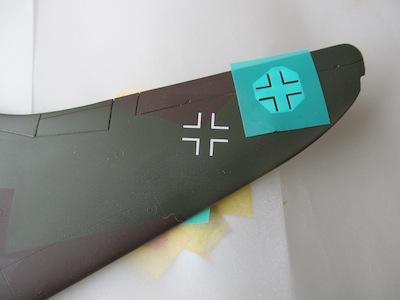 Ho229A-1左翼上面国籍マークの塗装